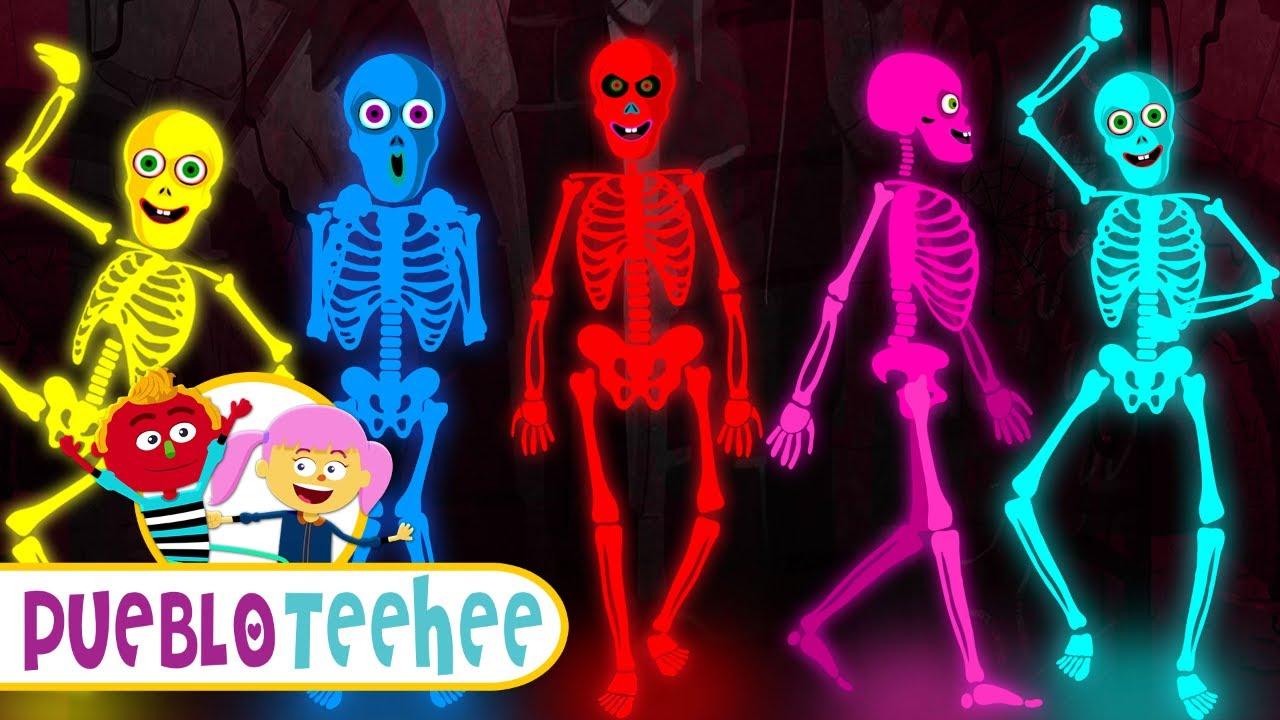 Pueblo Teehee Cinco Esqueletos Salieron Una Noche Canciones Infantiles Youtube