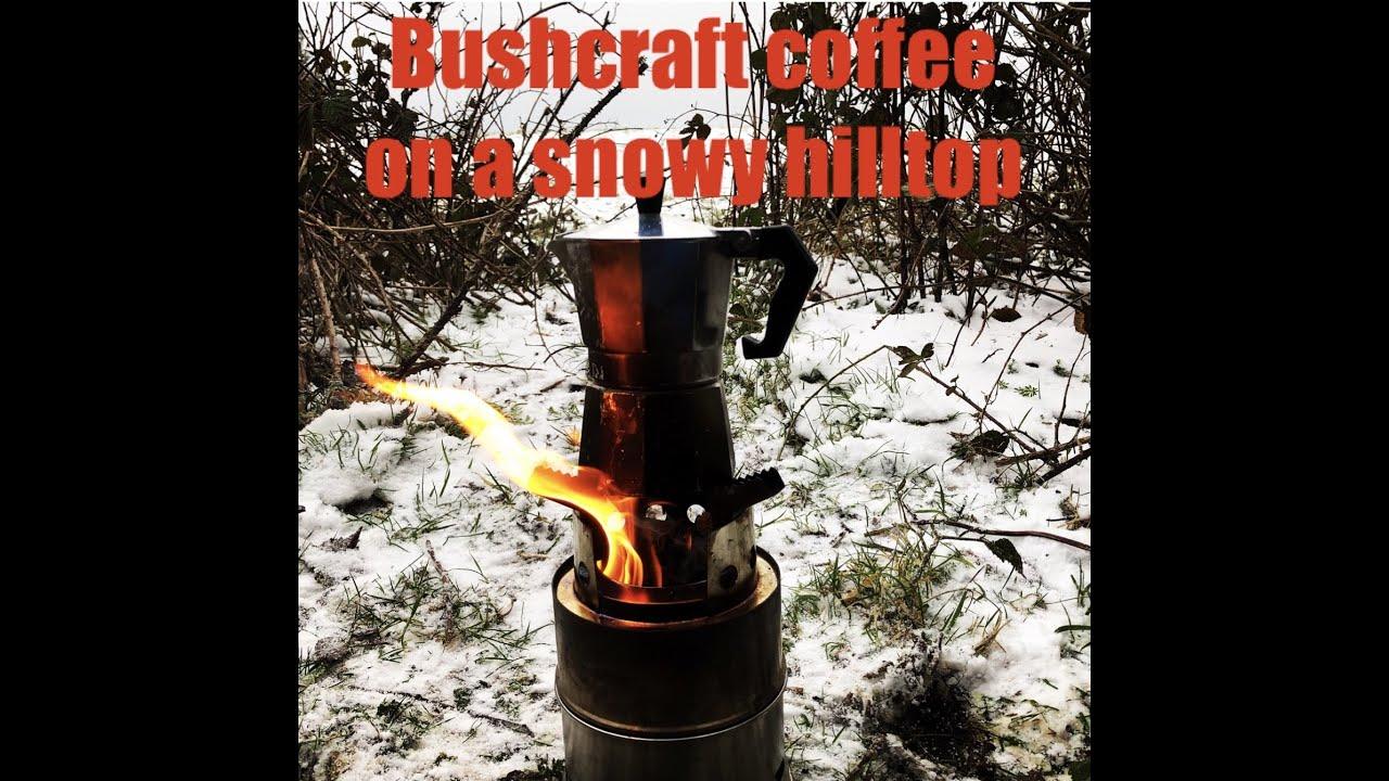 Bushcraft coffee on a snowy hilltop