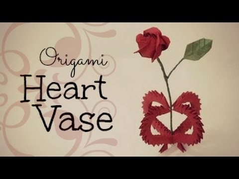 Valentines Day Gift 3d Origami Heart Vase Youtube