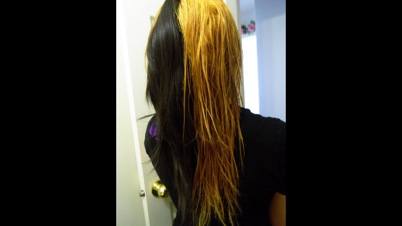 How to dye hair half black and half blonde - YouTube