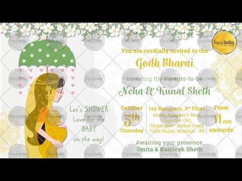 Indian Baby Shower Invitation Party Godh Bharai Invite