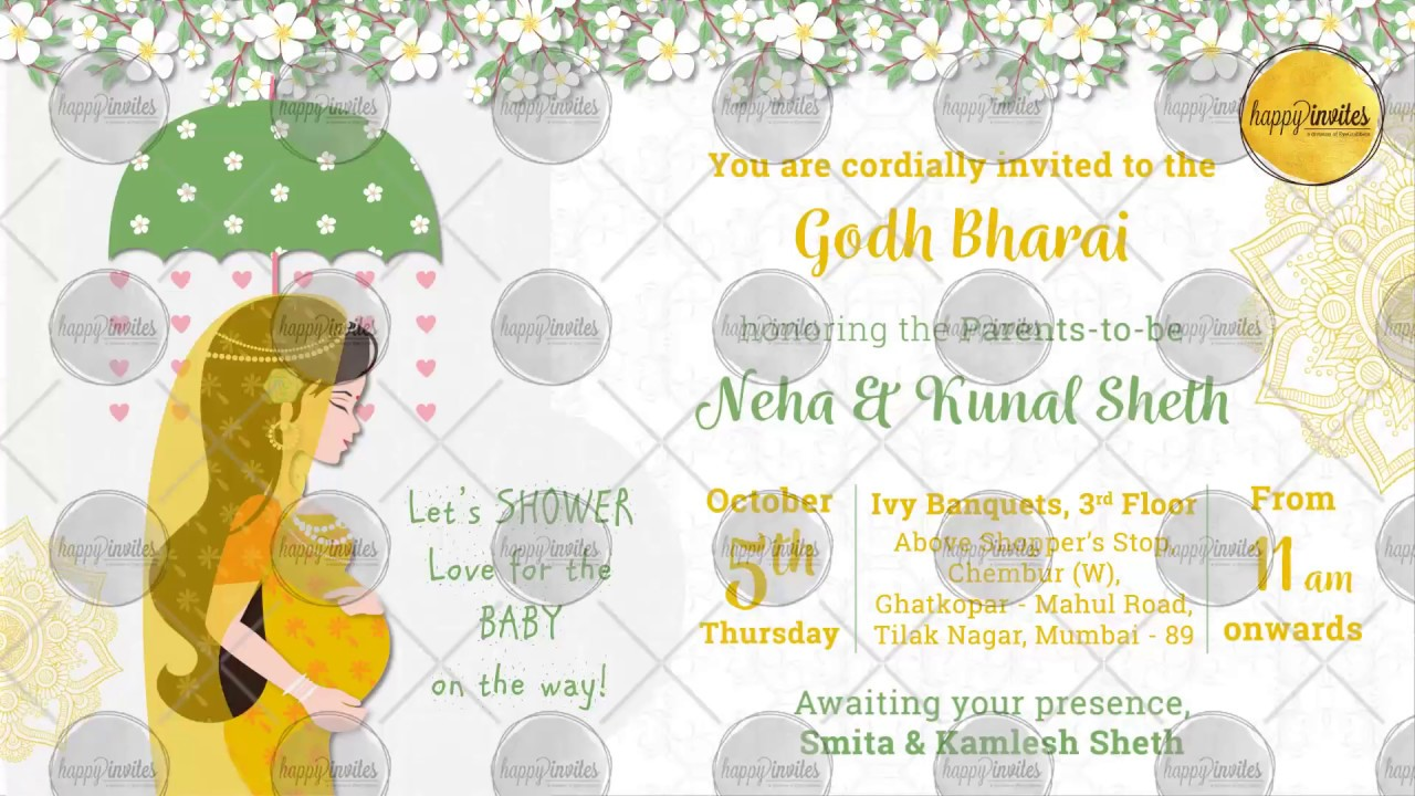 Indian Baby Shower Invitation Party Godh Bharai Invite