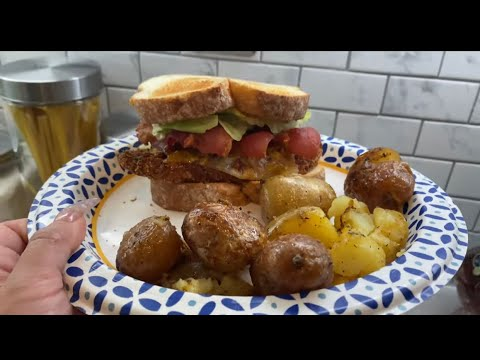 making-a-chicken-bacon-sandwich-with-roasted-potatoes