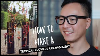 How to make a tropical flowers arrangement with metal stand / Miracle Design Time