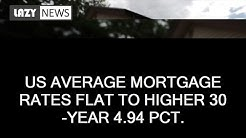 US average mortgage rates flat to higher 30-year 4.94 pct.