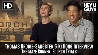 Thomas Brodie-Sangster amp Ki Hong Lee - The Maze Runner Scorch Trials Exclusive Interview