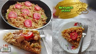 Noodles Pizza Without Cheese Recipe || How To Make Ramen Noodles Pizza Without Oven - Desi Chef