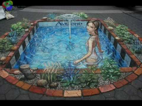 3d drawings on the ground youtube for Pool design drawings