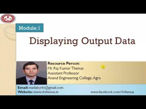 Lecture-10: Displaying output data in MATLAB (Hindi/Urdu)