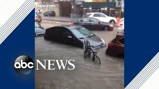 New York City streets underwater after storm hits