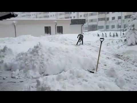 Locatarii curăță zăpada, Chișinău