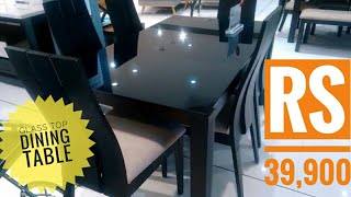 Glass Dining table with 6 Dining chairs   Glass top dining table with price   new dining table