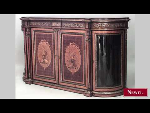 Antique French Victorian satinwood and bronze trimmed sidebo