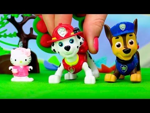 Герои мультфильмов Щенячий патруль и Hello Kitty. Горит кошкин дом. Мультик с игрушками.