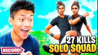 27 KILLS SOLO VS SQUADS!! BATI O MEU RECORDE NO FORTNITE: BATTLE ROYALE