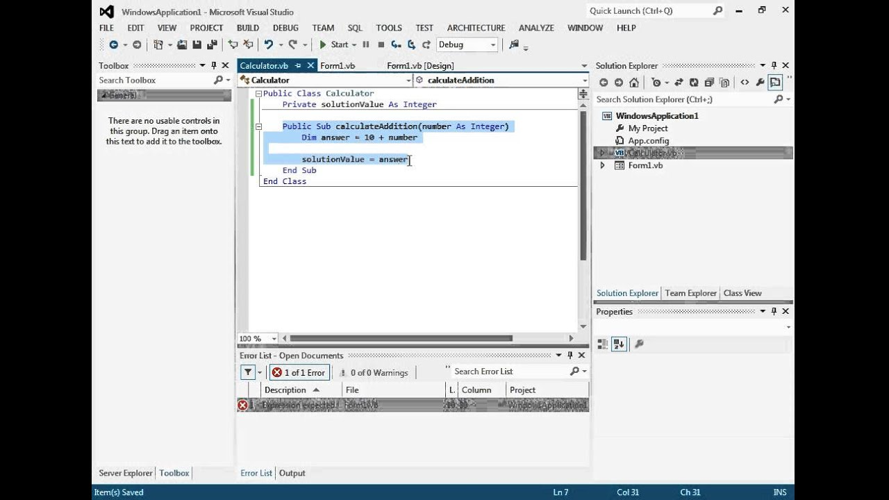 Tutorial 5: Introduction to Classes in Visual Basic