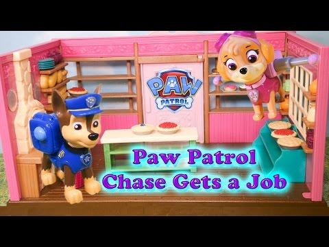 PAW PATROL Nickelodeon Paw Patrol Chase gets a Job Toys Video Parody