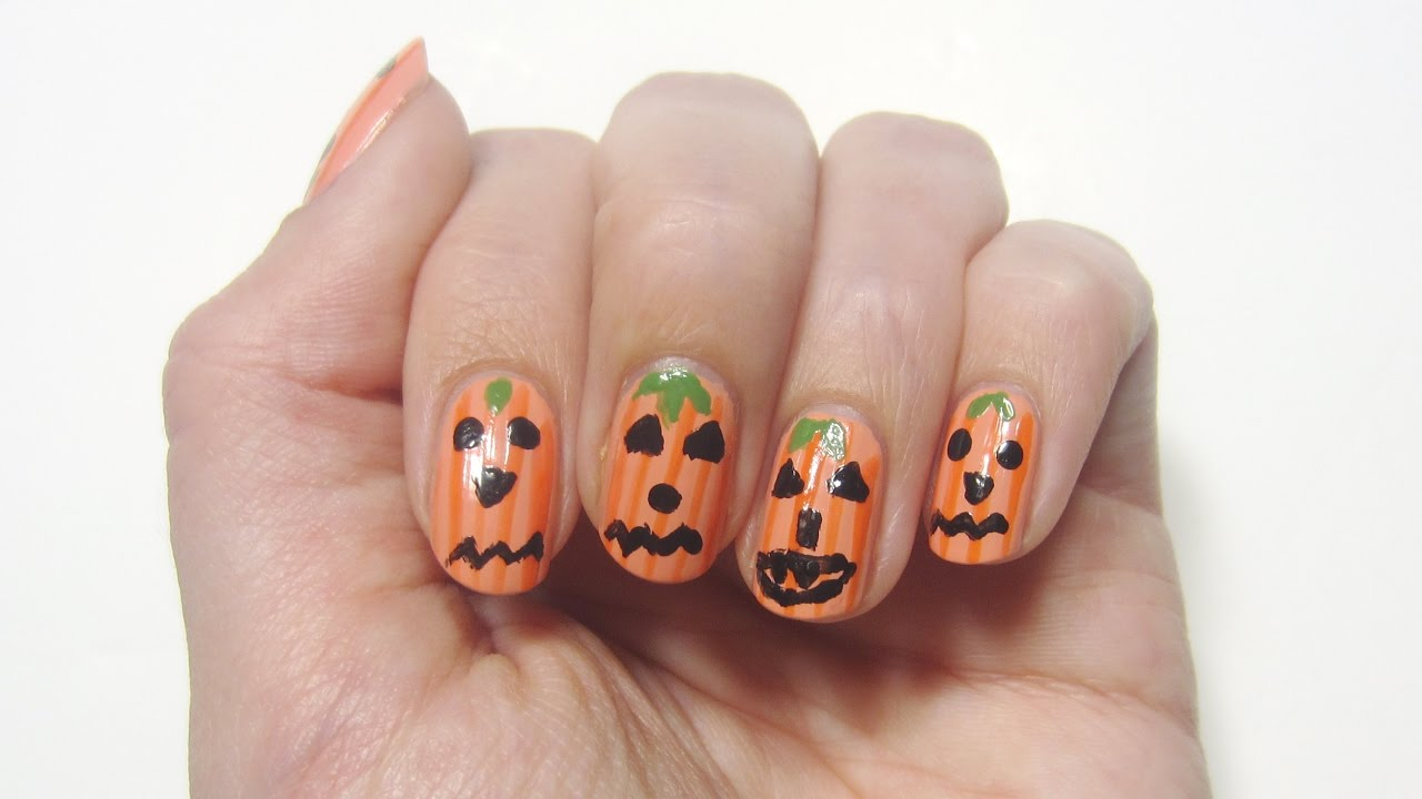 Halloween-Nageldesign spooky Kürbisse | \'seni Nageldesign - YouTube