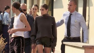 Kaia Gerber and her fellow models at the Max Mara Fashion Show in Milan