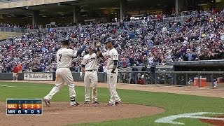 Mauer connects for a three-run homer