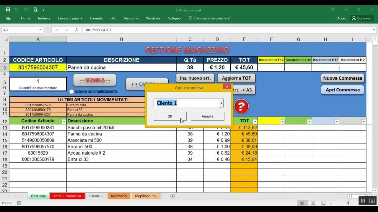 Gestione Magazzino Excel Tutorial Gestione Commese