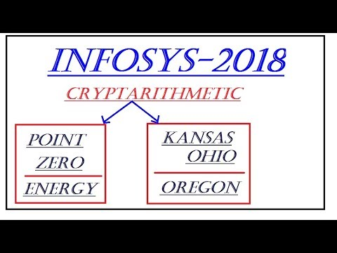 CRYPTARITHMETIC PROBLEMS FOR INFOSYS 2018 DRIVE//IT CAREERS