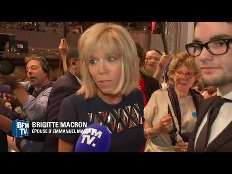 Wife of French President Emmanuel Macron,Brigitte Macron speaks to media
