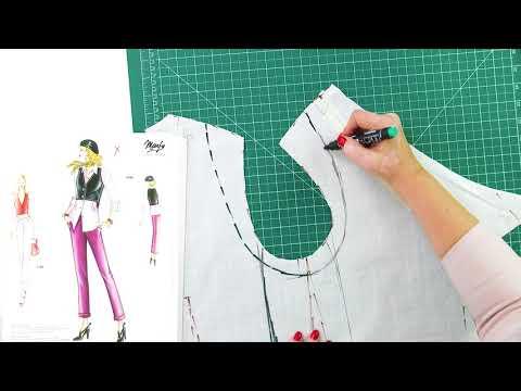 Моделирование и раскрой жилетки к асимметричной юбке с подкройным бочком и косой вытачкой Часть 1