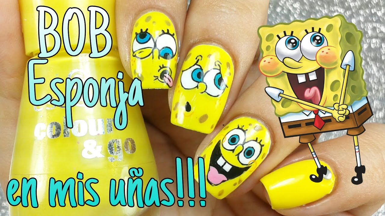Bob Esponja En Mis Uñas Sponge Bob Nails Dianaspolish Youtube