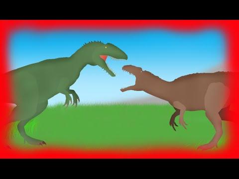 Dinosaurs Cartoons Battles: Carcharodontosaurus vs Acrocanthosaurus. Dinosaurs Динозавры мультфильм