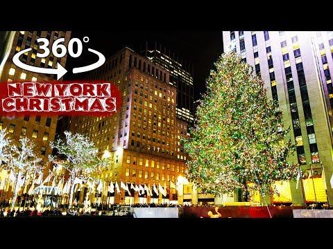 360 video – Christmas in New York City – Rockefeller Center Christmas Tree Lighting