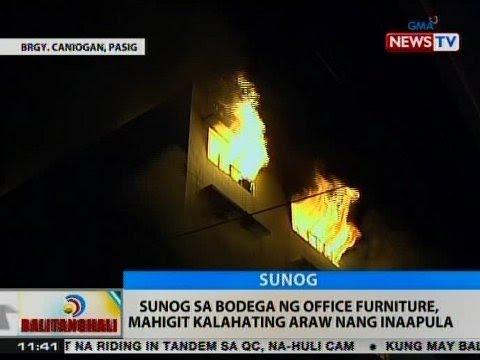 BT: Sunog sa bodega ng office furniture sa Pasig, mahigit kalahating araw nang inaapula