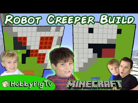 Minecraft Derpy Creeper Robot Build + TNT! HobbyPigTV