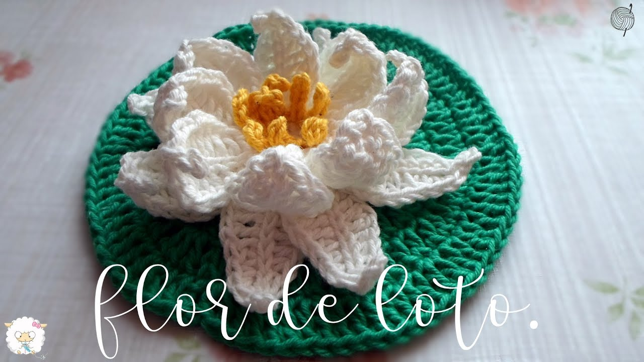Flor de loto a crochet - YouTube