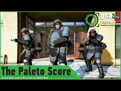 GTA 5 on Redux Graphics Mod: Paleto Score HEIST/Trevor Minigun vs Military Shootout/GAMEPLAY