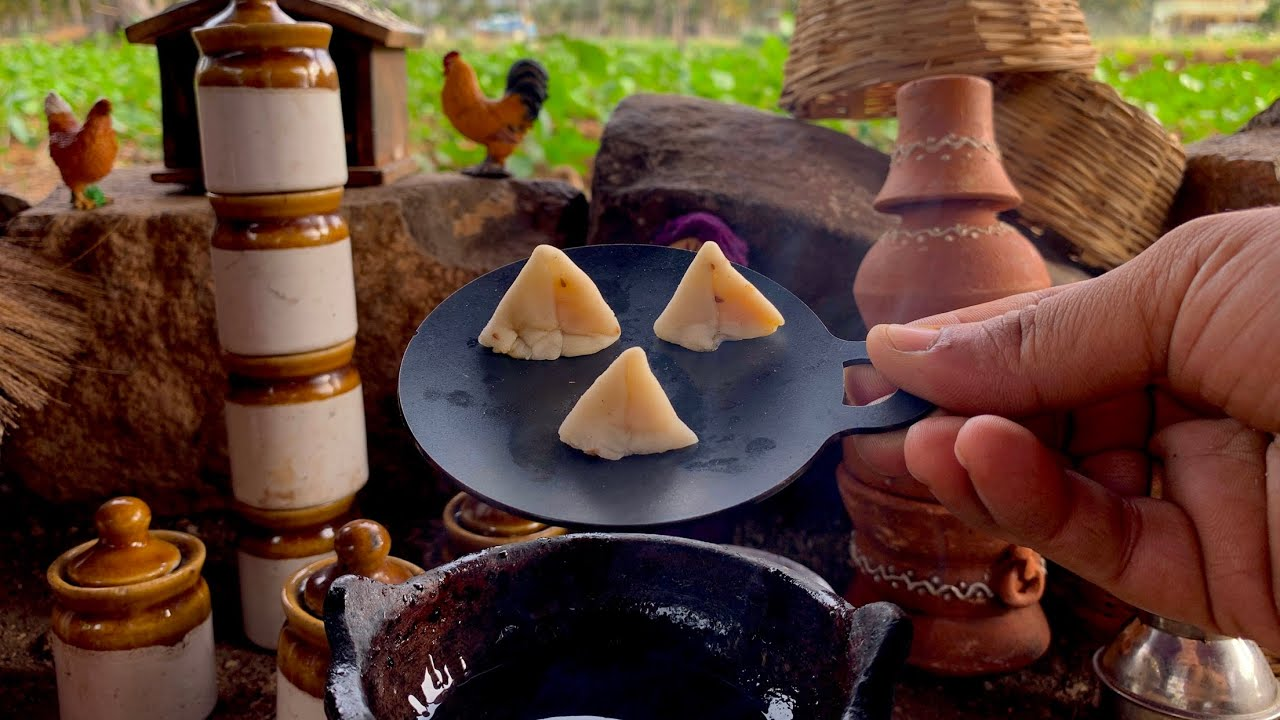 Miniature Samosa   ASMR   Mini Real Cooking   Street Style Samosa   Green Chutney + Imli Ki Chatni