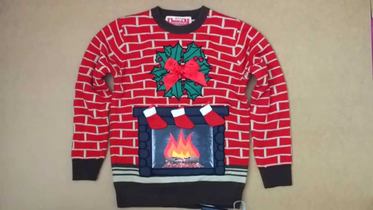 Flashing Fireplace Lightup Christmas Jumper Sweater