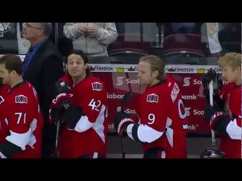 Pens, Sens crack up during national anthems 3/24/12