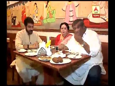 Prasenjit Chatterjee along with Aparajita Auddy and Kaushik Ganguly tastes delicious food