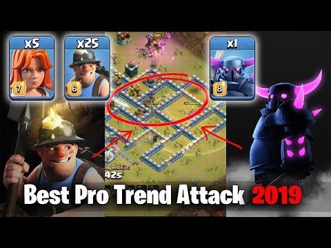 Best Pro Trend Attack 2019! Max Pekka 25 Miner 5 Max Valks 3star TH12 Max War Bases | Clash Of Clans
