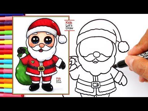 Aprende a Dibujar a PAPÁ NOEL con BOLSA DE REGALOS | How to Draw SANTA CLAUS with Gift Bag