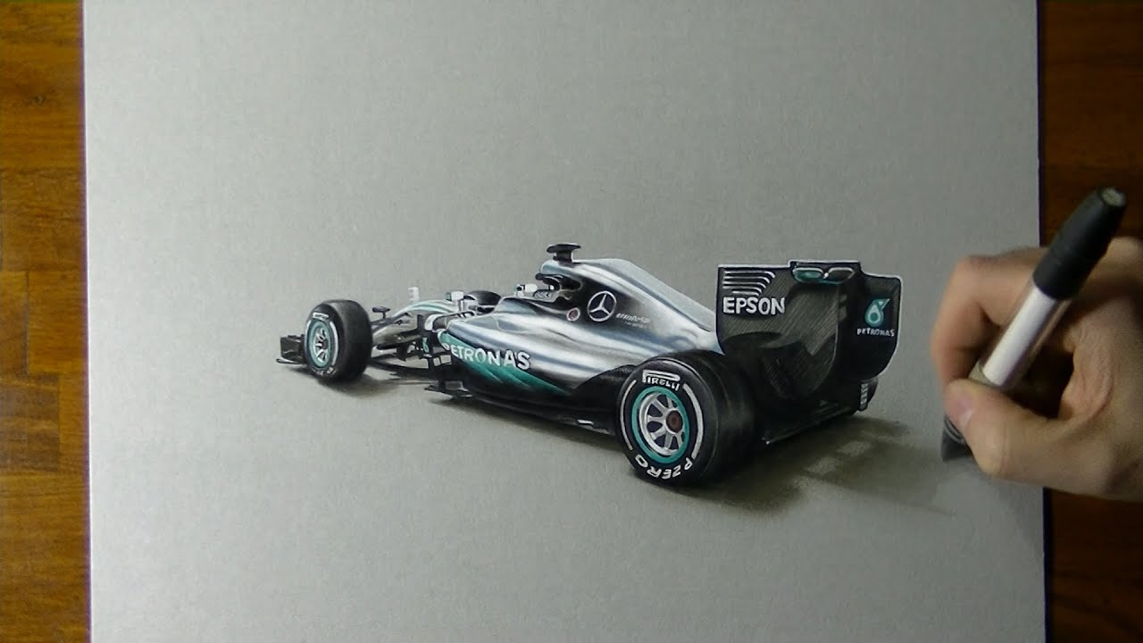 Drawing The Mercedes W07 2016 F1 Car Youtube