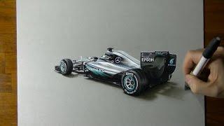 Drawing the Mercedes W07 2016 F1 car