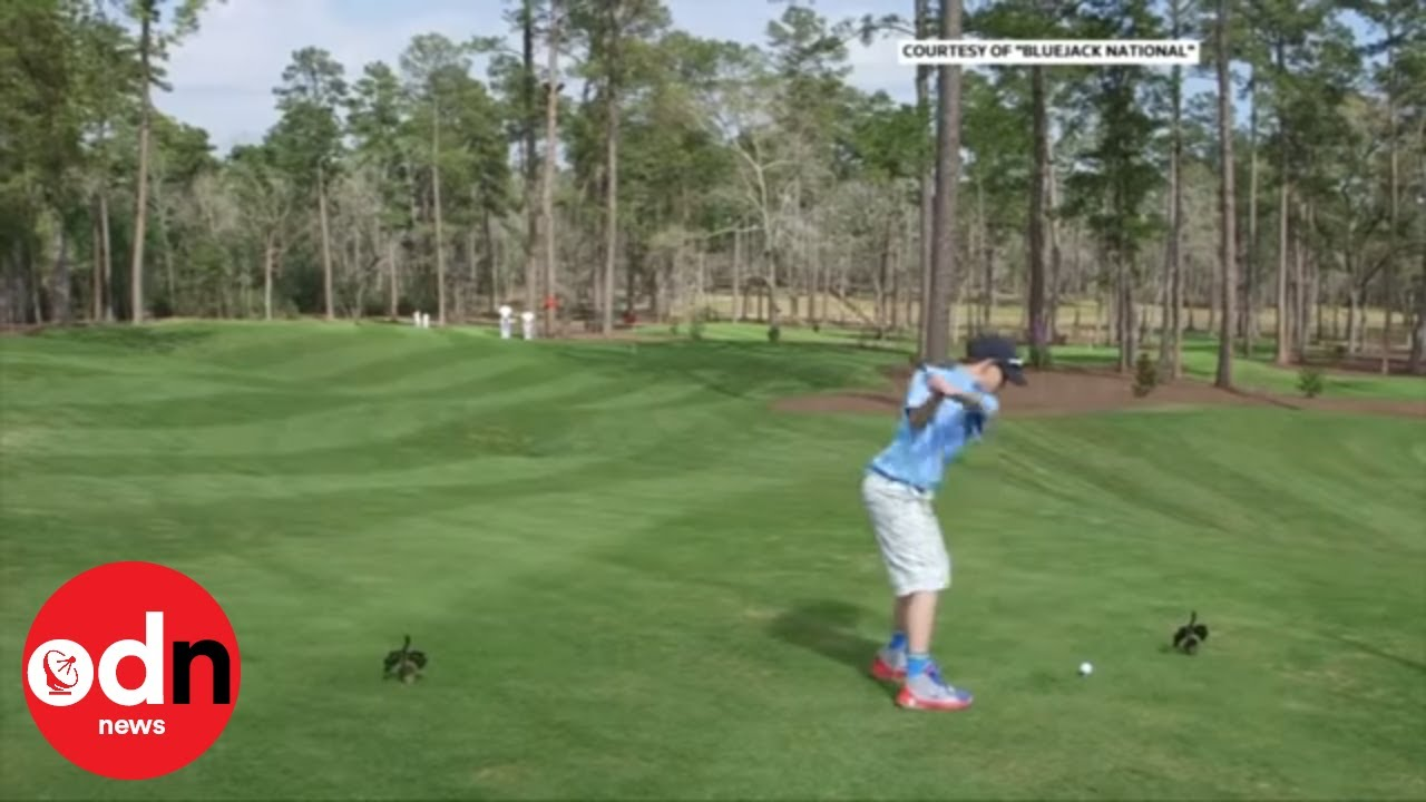 A brave boy hits a hole-in-one in front of Tiger Woods