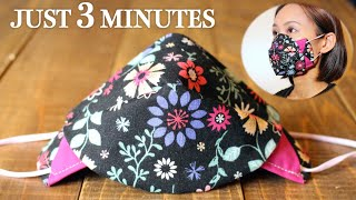 JUST 3 MINUTES - Simple 3D Face Mask 2 in 1 Style Sewing Tutorial|DIY Fabric Mask for beginner