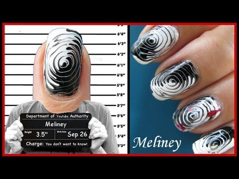 toothpick nails easy halloween nail art fingerprint design criminal tutorial step by step swirl - Easy Halloween Designs For Nails