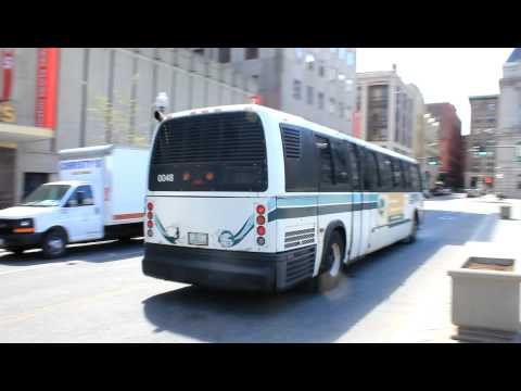 RIPTA: Single NovaBus RTS departs Kennedy Plaza Bus Terminal