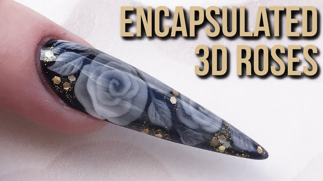 Encapsulated 3D Acrylic Roses - Extreme Stiletto Sculpted Nail ...