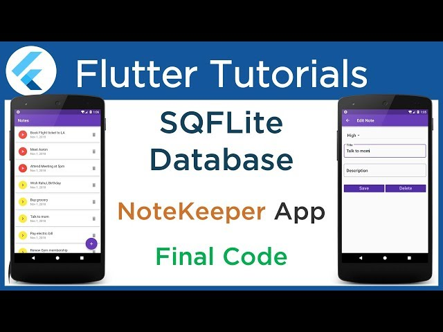 #4.8 Flutter SQFLITE Example: Complete NoteKeeper App. CRUD Operation in SQLite