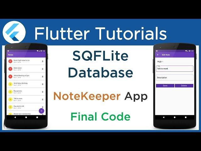 #4.8 Flutter SQFLITE Example: Complete NoteKeeper App. CRUD Operation in SQLite